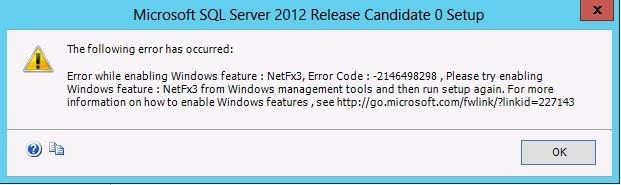 Enabling .NET 3.51 failing
