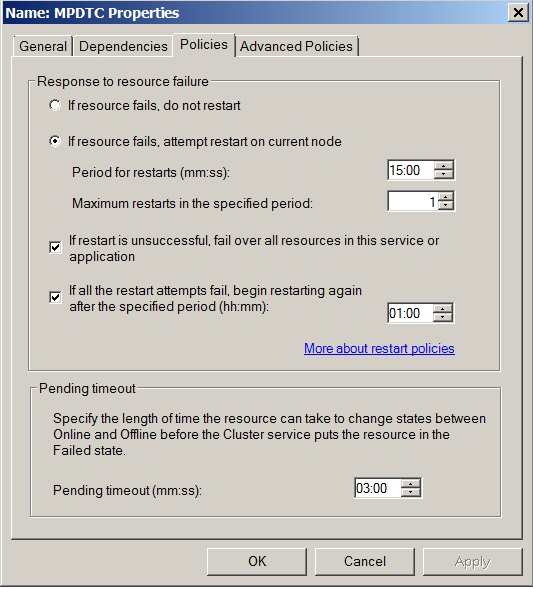 Figure 13. Policies for the DTC Network Name